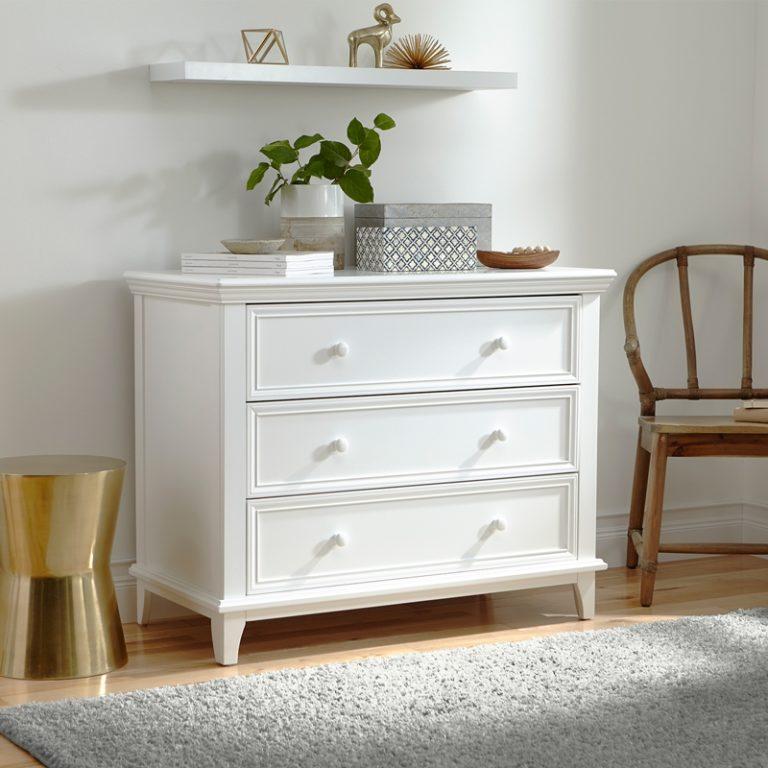 White 3 Drawer Dresser Nursery Dresser Girl Dresser