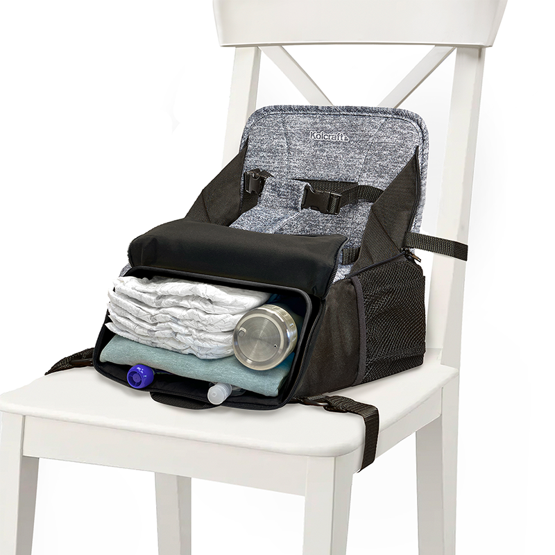 Closer view of the inside pockets of the 2-in-1 Booster Seat and Diaper bag